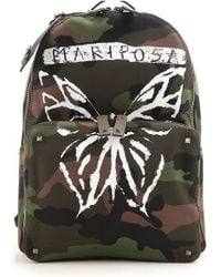 Valentino - Rockstud Camouflage Print Backpack With Leather - Lyst