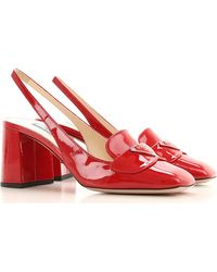 Prada Sandals Heeled Womens In Saldo - Rosso