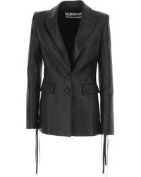 Off-White c/o Virgil Abloh Leather Jacket For Women - Black