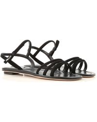 374706ad86412c Lyst - Prada Patent Leather Flip Flops in Black
