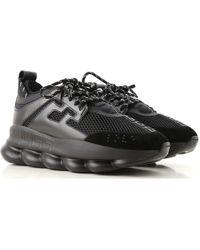 Versace Sneakers chain reaction in camoscio pelle gomma e macro rete con maxi suola in gomma - Nero