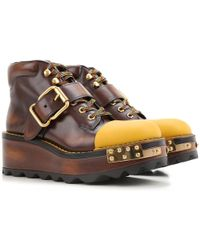 Prada - Buckle Leather 60mm Hiking Boot - Lyst