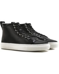 aa9f38ef99f7 Lyst - Lanvin Suede High-Top Slip-On Sneakers in Black