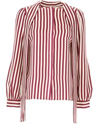 Michael Kors - White And Purple Striped Shirt With Bow - Lyst