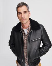 Rag & Bone Leather Flight Jacket - Black