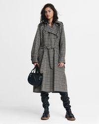 Rag & Bone Harris Plaid Cotton Blend Trench Oversized Fit Coat - Multicolour