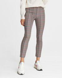 Rag & Bone Simone Pant - Check Italian Stretch Slim Fit Cropped Pant - Multicolour