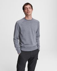 Rag & Bone Harlow Cotton Cashmere Crew Classic Fit Midweight Sweater - Grey