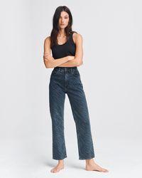 Rag & Bone Ruth Super High-rise Straight Zebra-print Jeans - Blue