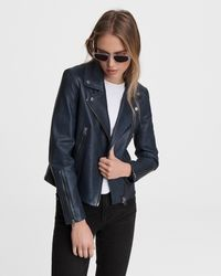 Rag & Bone Mack Leather Jacket Slim Fit Jacket - Blue