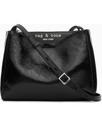 Rag & Bone Passenger Crossbody - Patent Leather Large Crossbody Bag - Black