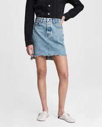 Rag & Bone High Waist Raw Step Hem Denim Miniskirt - Blue