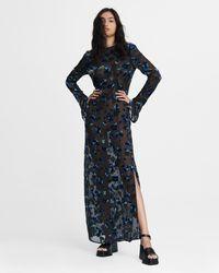Rag & Bone Gigi Column Maxi Dress Silk Blend Dress - Black