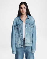 Rag & Bone Oversized Cotton Linen Jacket Oversized Fit Jacket - Blue
