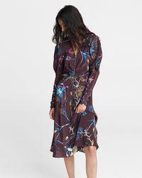 Rag & Bone Rainier Printed Midi Dress Silk Crepe De Chine Dress - Multicolour