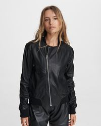 Rag & Bone Leather Flight Bomber Jacket - Black