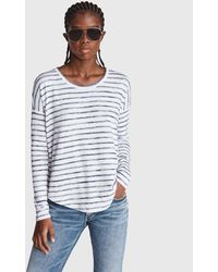 Rag & Bone The Knit Striped Jersey Long Sleeve Relaxed Fit Top - Blue