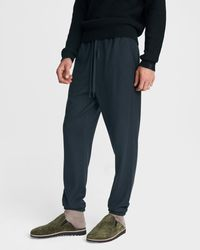 Rag & Bone Navy Wool Knit Prospect jogger Lounge Trousers - Blue