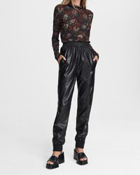Rag & Bone Leather jogger Pant Relaxed Fit Pant - Black
