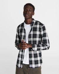 Rag & Bone Fit 2 Tomlin Shirt - Plaid Cotton Slim Fit Button Down - Black