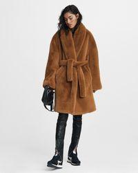 Rag & Bone Bijou Faux Fur Coat Oversized Fit Coat - Brown