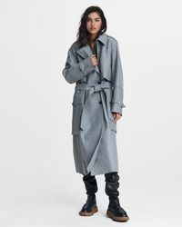 Rag & Bone Jonah Wool Blend Trench Oversized Fit Coat - Gray