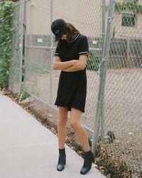 Rag & Bone Thatch Mini Dress Rib Trim Dress - Black