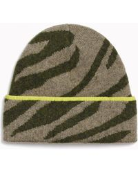 Rag & Bone Kiki Neon-trimmed Zebra-stripe Knit Beanie - Green