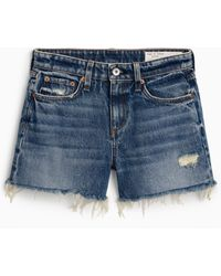 Rag & Bone Dre High Waist Denim Shorts - Blue