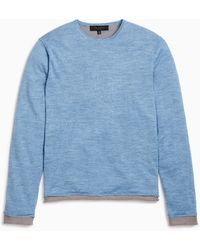 Rag & Bone Reversible Palmer Cotton Crew Classic Fit Midweight Sweater - Blue