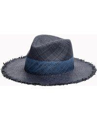 Rag & Bone Frayed Edge Panama Hat - Blue