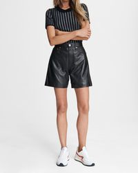 Rag & Bone Super High-rise Leather Short Classic Fit Short - Black