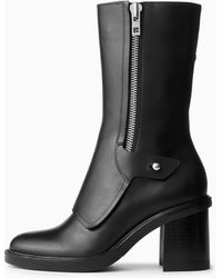 Rag & Bone Soren Moto Boot - Burnished Leather Mid-calf Boot - Black
