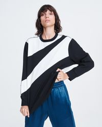 Rag & Bone Abstract Zebra Cotton Pullover Oversized Midweight Jumper - Black