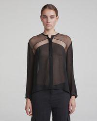 d089f974db808 Lyst - Rag   Bone Tomlin V-neck Long-sleeve Satin Silk Shirt in Black