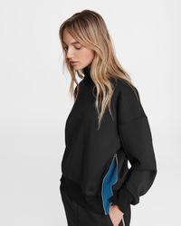 Rag & Bone Zip Mock Neck Sweatshirt - Black