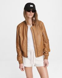Rag & Bone Manston Leather Bomber Classic Fit Jacket - Natural