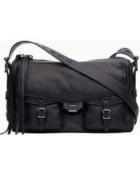 Rag & Bone Field Puffer Leather Crossbody Messenger Bag - Black