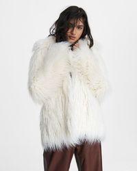 Rag & Bone Adelyn Mongolian Faux Fur Coat Oversized Fit Coat - Multicolour