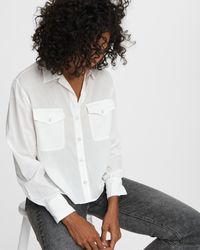 Rag & Bone May Viscose Shirt Classic Fit Long Sleeve Top - White