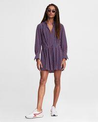 Rag & Bone Carly Mini Dress Silk Crepe De Chine Dress - Purple