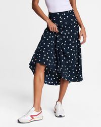 Rag & Bone Eva Floral Skip Midi Skirt Viscose Skirt - Blue