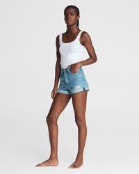 Rag & Bone Maya Distressed High Waist Cuffed Denim Shorts - Blue