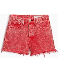 Rag & Bone Maya High Waist Denim Shorts - Red