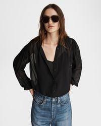 Rag & Bone Sabrina Viscose Blouse Classic Fit Top - Black