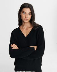 Rag & Bone Pierce Cashmere V Neck Relaxed Fit Midweight Sweater - Black