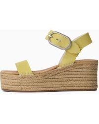 Rag & Bone Ansley Buckle Espadrille - Suede Platform Sandal - Multicolour