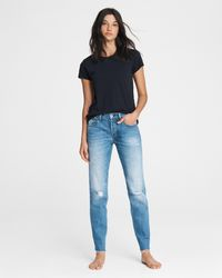 Rag & Bone Rosa Mid-rise Boyfriend - Aquarius Slim Fit Light Indigo Jean - Blue