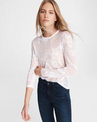 Rag & Bone Valencia Floral Jersey Shirt Slim Fit Top - White