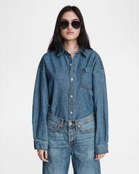 Rag & Bone Oversized Cotton Linen Shirt Relaxed Fit Top - Blue